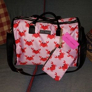 NWT RARE! Betsey Johnson pink/red crab weekender